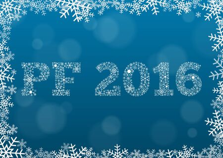 pour feliciter: PF Pour fliciter, Happy news year 2016 - white text made of snowflakes on background with bokeh effect and frame made of snowflakes