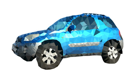 low tire: Isolated low polygonal realistic blue SUV offroad car from sideview