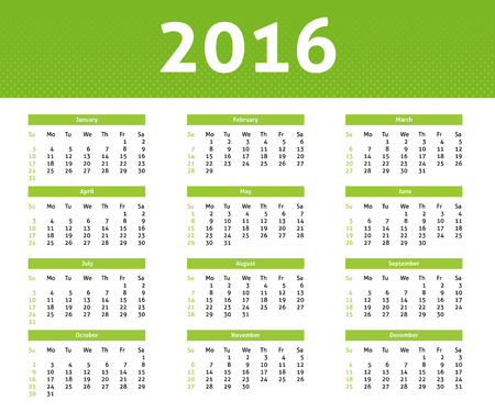 2016 year calendar in English, ligh green halftone style, week starts with Sunday