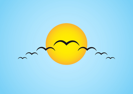 migrating: Simple illustration of migrating birds in front of the sun