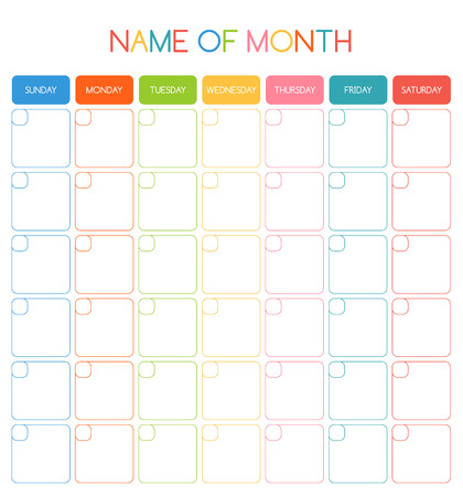 calendar: Colorful blank month planning calendar with place for dates and for your notes Illustration