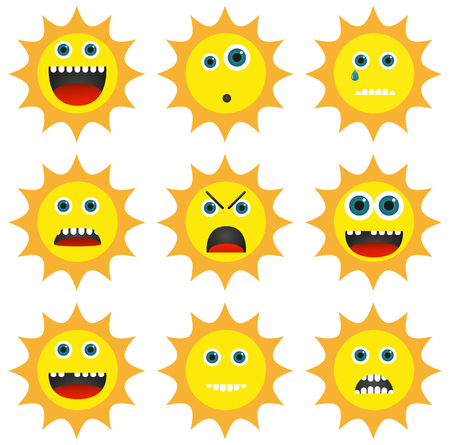 happy emoticon: Set of 9 different emoticons in sun shape Illustration