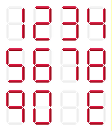 Set of isolated digital numbers in red color