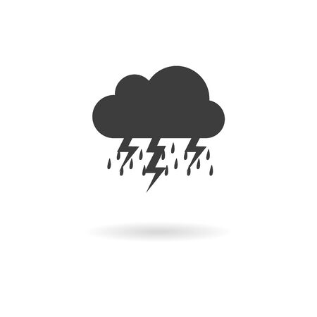 wheater: Isolated dark grey icon for storm on white background with shadow (part of wheater icon set)