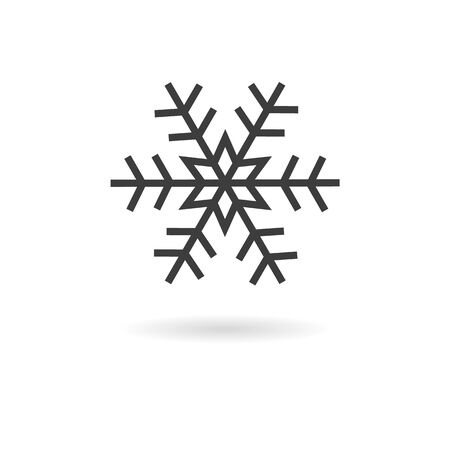 wheater: Isolated dark grey icon for snow or snowflake on white background with shadow (part of wheater icon set) Illustration