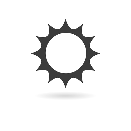 wheater: Isolated dark gray icon for sun or sunny weather on a white background with shadow part of Wheater icon set