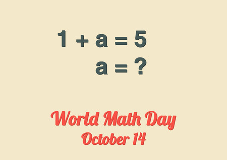 background people: Poster for World Math Day October 14 with mathematical example