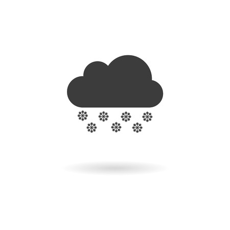 wheater: Isolated dark gray icon for snowy on white background with shadow part of Wheater icon set