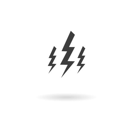 wheater: Isolated dark gray icon for electricity thunderbolt on white background with shadow part of Wheater icon set