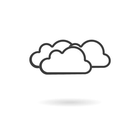 wheater: Isolated dark gray for cloudy icon on white background with shadow part of Wheater icon set