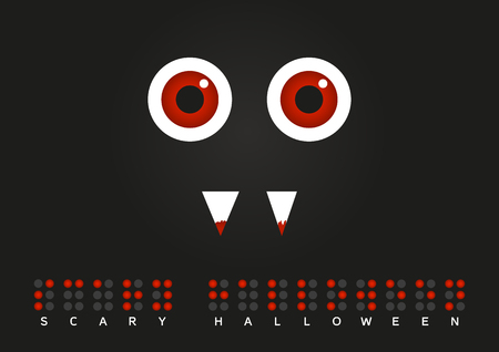 hallooween: Illustration of monster with red eyes and blood on his teeth with text Scary hallooween in Braille