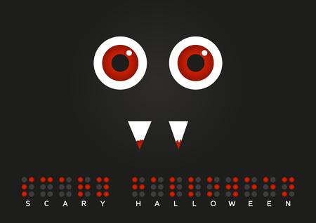 braille: Ilustración del monstruo con los ojos rojos y la sangre en los dientes con el texto hallooween Scary en Braille