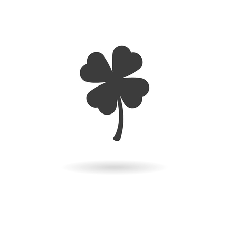 four leaf: Isolated dark gray icon of a four leaf clover on white background with shadow