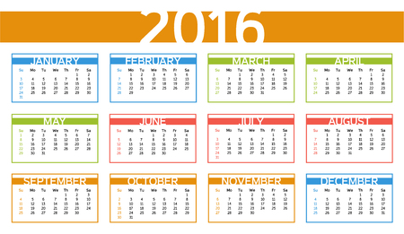 october calendar: 2016 colorful year calendar in English language - week starts with Sunday