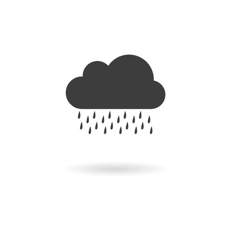 wheater: Isolated dark gray icon for rain on white background with shadow part of Wheater icon set Illustration