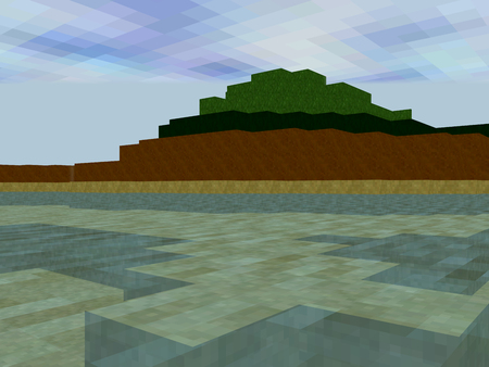 tile background: Landscape made of pixel squares with large water area and big hill Stock Photo