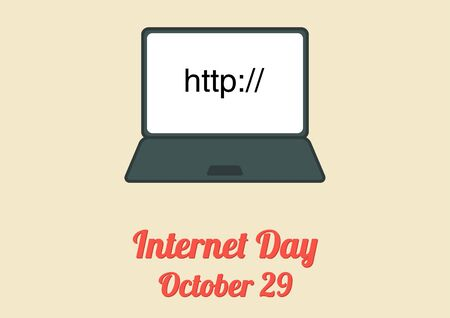 http: Poster for annual celebration of Internet Day (October 29) with notebook and text http: on the screen Illustration