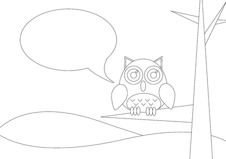 siting: Coloring book - Landscape with owl siting on a tree with speech bubble Illustration