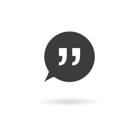 speech icon: Isolated dark gray icon for speech bubbles with quotes talk, dialogue, chat, opinion, contact, conversation, forum, message ... on white background with shadow Illustration