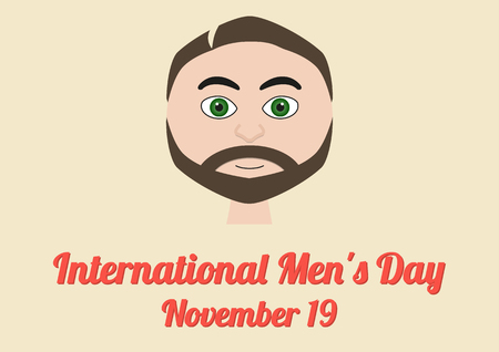 observance: Poster for annual celebration of International Mens Day November 19 with male portrait