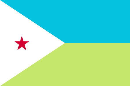 afar: Isolated national flag of Djibouti in official colors and proportions Illustration