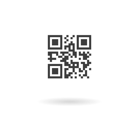 Isolated dark grey icon for qrcode with template meaning on white background with shadow