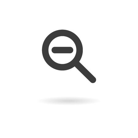 shrink: Isolated dark gray icon for zooming out shrink on white background with shadow