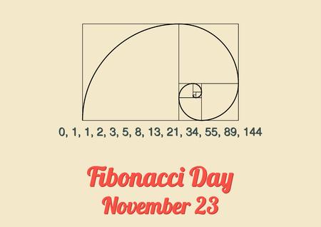 연간 피보나치 나선형 피보나치 수와 피보나치 날 년 11 월 (23)의 축하와 피보나치 시퀀스에 대한 포스터