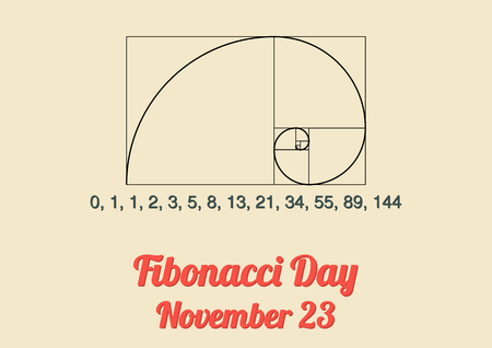 Poster for annual celebration of Fibonacci Day November 23 with Fibonacci spiral Fibonacci numbers and the Fibonacci sequence