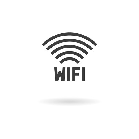 wireless hot spot: Isolated dark gray icon for wifi on white background with shadow