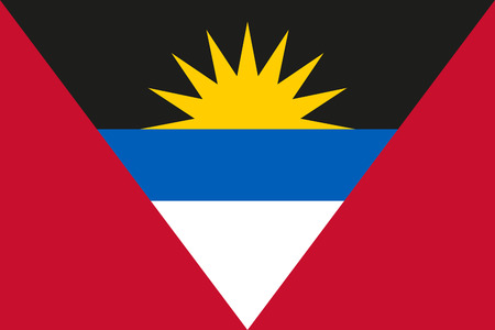 dawning: National flag of Antigua and Barbuda - in official colors; rising sun symbolises the dawning of a new era Illustration