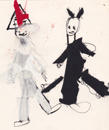 glued: Original scanned picture of 5 year old girl - St. Nicholas and Devil - contours made of ink with glued fabric