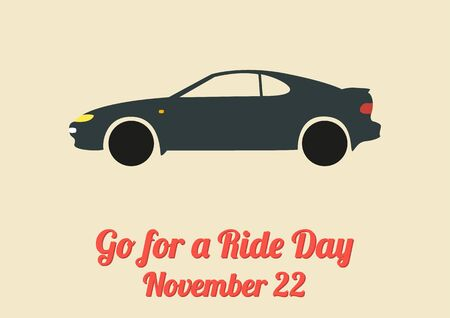 roadtrip: Poster for annual celebration of Go for a Ride Day 22 November with sports car Stock Photo
