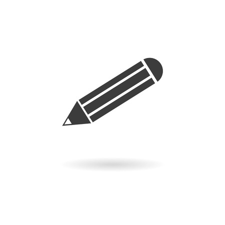 write us: Isolated dark gray pencil icon for the write us with long shadow on white background with shadow Stock Photo