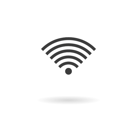 wireless hot spot: Isolated dark gray icon for WiFi wireless connection on a white background with shadow Stock Photo
