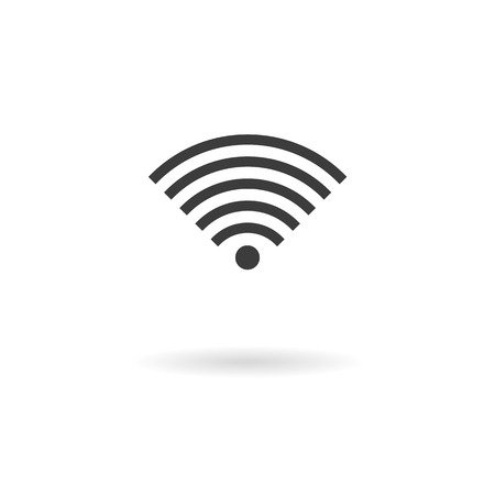wireless hot spot: Isolated dark gray icon for WiFi wireless connection on a white background with shadow Illustration