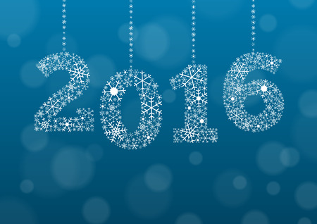 new year parties: 2016 text made of snowflakes on background with bokeh effect and enough copyspace for you text