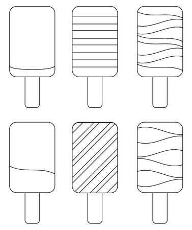 ice lolly: Coloring book - set of 6 isolated  ice lolly
