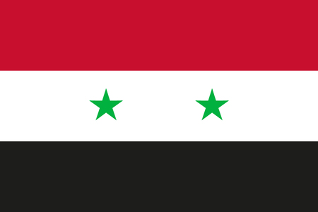 National flag of Syrian Arab Republic Syria in official colors and Proportions - Flag Used by the Assad governmen Illustration