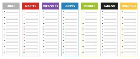 planing: Week planning calendar in colors of the day in Spanish Monday to Sunday