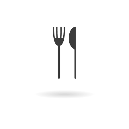 lunchroom: Isolated dark grey icon for fork and knife on white background with shadow