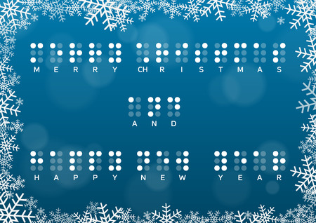 healt: Merry Christmas and Happy New Year card with braille greeting in snowframe on dark blue background with bokeh effect