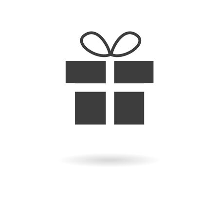 giftware: Isolated dark gray icon of present gift on white background with shadow