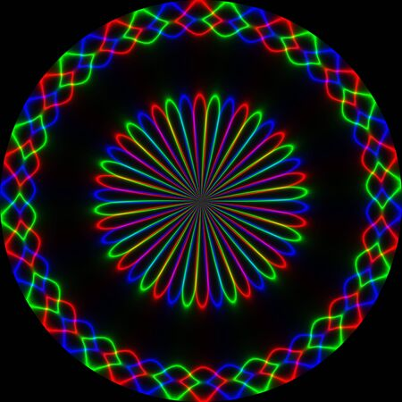 rgb: Neon abstract round ornament in rgb colors on black background