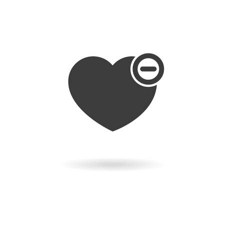 favorites: Isolated dark grey icon for heart with minus - remove from favorites on white background with shadow