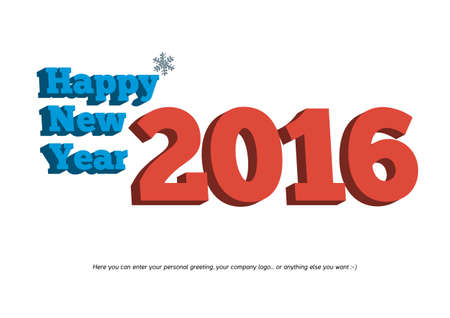 pour feliciter: Isolated 3D Happy New Year 2016 text with small snowflake on white background