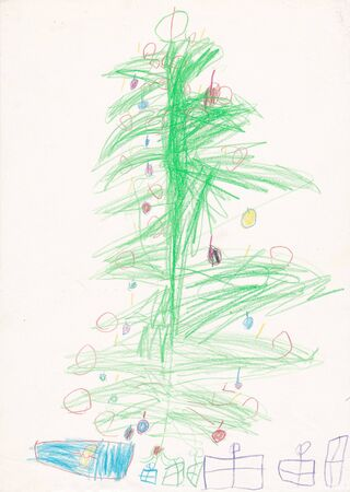4 year old: Christmas tree with gifts - original illustration made by child 4 year old girl wax pencils on paper