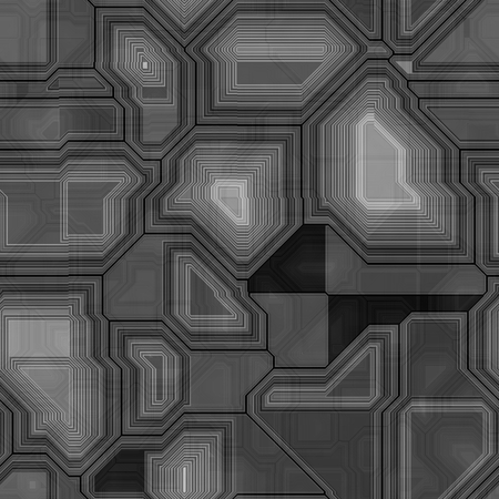 Seamless greyscale pattern inspired by computer circuit. Great as sci-fi spaceship background. Imagens