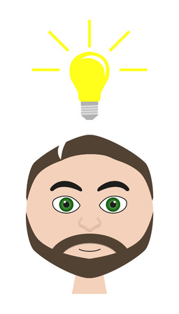 symbolization: Isolated vector illustration of man with lightbulb idea symbolization Illustration