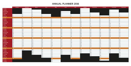 agenda year planner: Colorful annual planner for 2016 - English, starts with Monday